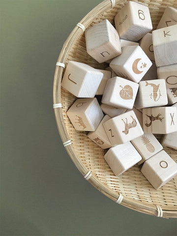 Alphabet Blocks - Natural wood