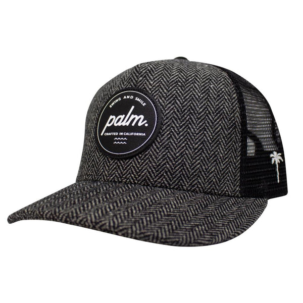 Lowtide Snapback - Black Herringbone / Black - Palm Golf Co.