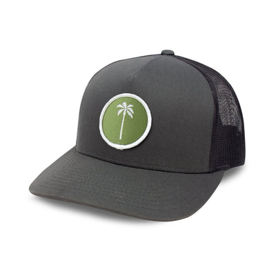 Local Snapback Trucker (Mid-Crown) - Olive/White - Palm Golf Co.