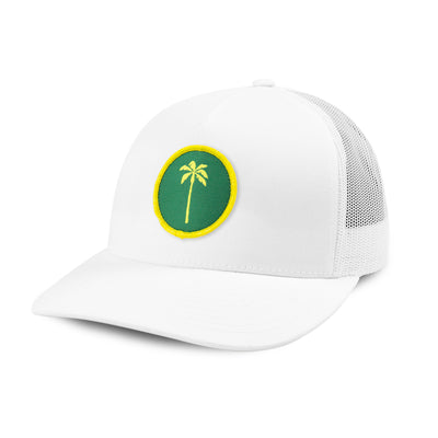 Local Snapback Trucker (Mid-Crown) - White / Green - Palm Golf Co.
