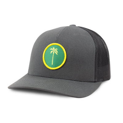 Local Snapback Trucker (Mid-Crown) - Charcoal / Green - Palm Golf Co.