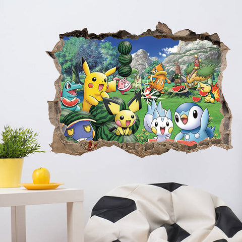 Cartoon Pikachu Pokemon Go Wall Stickers For Kids Rooms Wall Decals Poster Room  Decoration Poster Nursery
