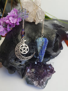 Lapis Lazuli Pendulum with Pentagram & Crescent Moon Charm