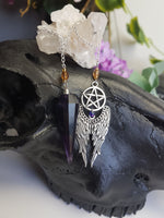 Load image into Gallery viewer, Amethyst Pendulum with Pentagram Wing Charm