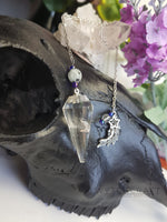 Load image into Gallery viewer, Clear Quartz Pendulum with Rainbow Moonstone & Moon Charm