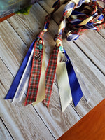 Blue & Red Tartan Triquetra Handfasting Cords