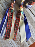Load image into Gallery viewer, Blue & Red Tartan Triquetra Handfasting Cords - Custom Text Only