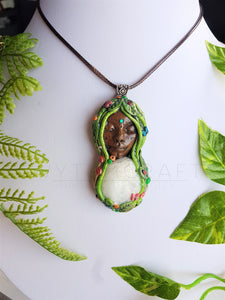 Aquamarine Forest Fae Earth Goddess Pendant