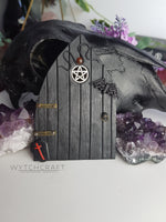 Load image into Gallery viewer, Gothic Fairy Door with Carnelian & Coffin