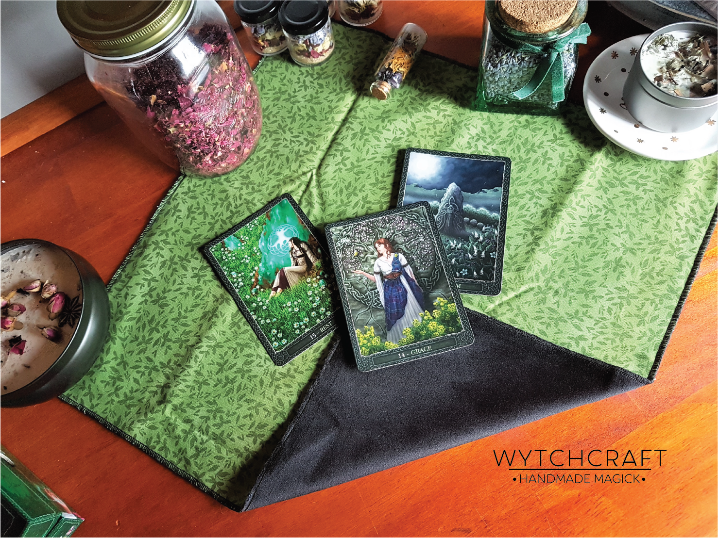 Light Green Hedge Witch Velvet Altar Cloth