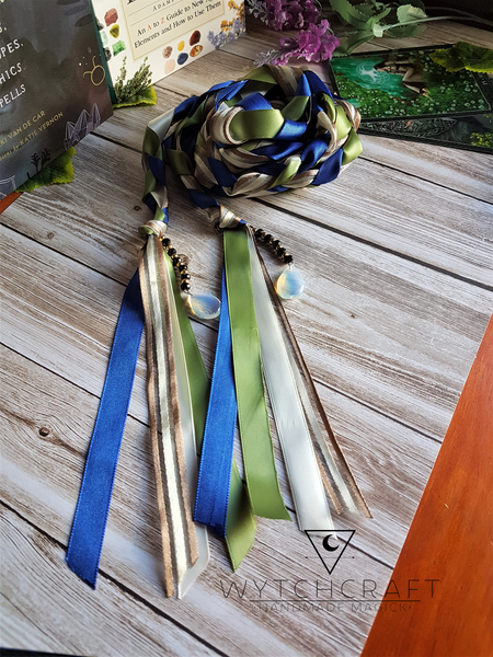 Customisable Blue, Cream & Opalite Handfasting Cords