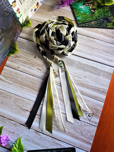Green, Cream & Black Celtic Handfasting Cords - Custom Text Only