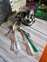 Customisable Green, Brown & Cream Feather Celtic Handfasting Cords