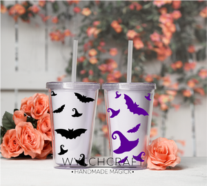 Witchy Hats & Bats Tumbler Sticker