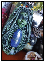 Load image into Gallery viewer, Lapis Lazuli & Moonstone Forest Druid Goddess Pendant