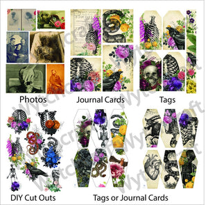 Gothic Floral PRINTED Junk Journal Kit