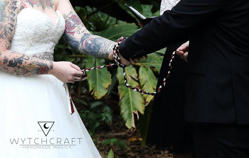 Pink & Grey Pearl Handfasting Cords - Custom Text Only