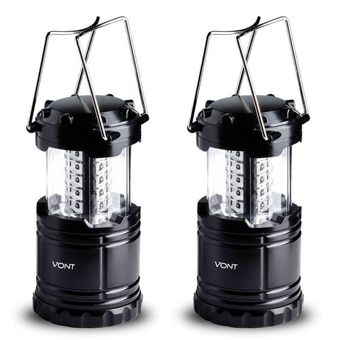 LED Camping Lantern, Survival Kit for Hurricane, Emergency, Storm, Outages, Outdoor Portable Lantern, Black, Collapsible (2 Pack) - Vont