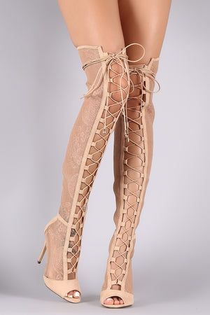 'Liliana' Floral Mesh Thigh High Boots
