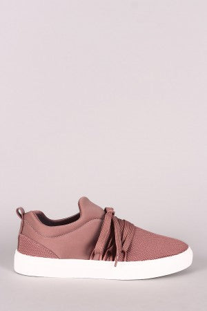 Qupid Elastane Lace-Up Netted Low Top Sneaker