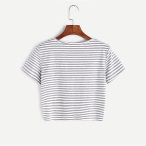 Striped Round Neck Crop T-shirt