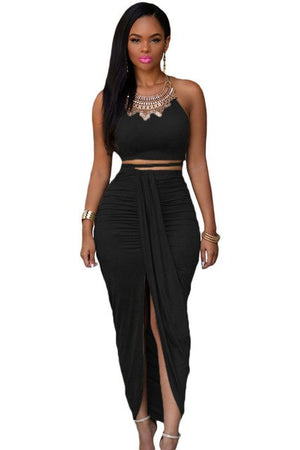 Fashion Women Olive Faux Suede Two Piece Crop Top with Wrapped Maxi Skirt Set