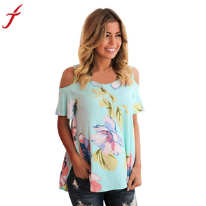 Summer Off Shoulder Blouse Women Lady Sleeveless Flower Printed Top