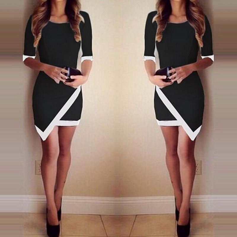 Summer Evening Party Black and White  Mini Dress.