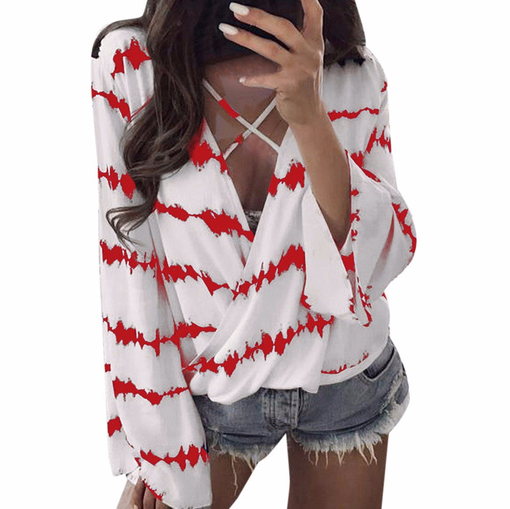 Loose Long Sleeve Shirt Stripe Tops Overlapping Chiffon Casual Blouse