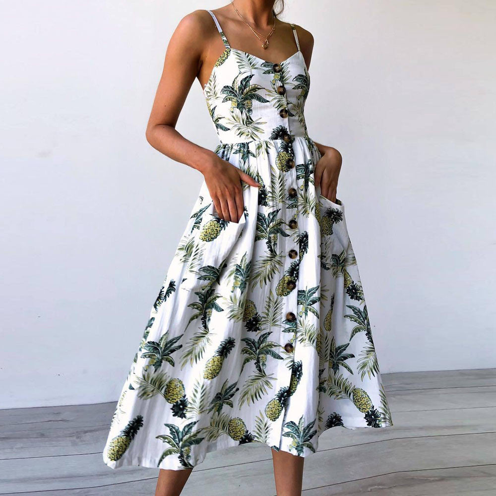 Women Printing Buttons Off Shoulder Sleeveless Princess Dress