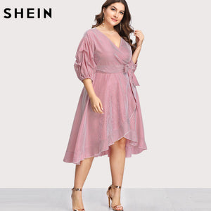 Pink  Striped Dress V neck Women Dress Ruffle Trim Pinstripe Vacation Dress