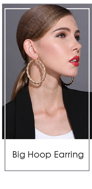 Exclusive Jewelry Hoop Earrings Gold-color Twisted Oversized  ZK30 70mm