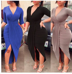 Autumn Dress Clothing Long Sleeve V Neck Pleated Split Maxi Solid Black Long Dress