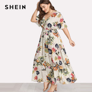 Floral White Dress Maxi Long Print V-neck Button Front Shirred Waist Tropical Dress