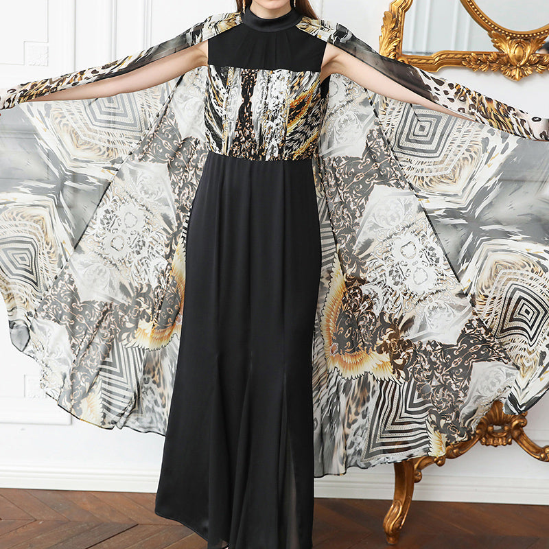 Silk Cloak Cape Party Dress