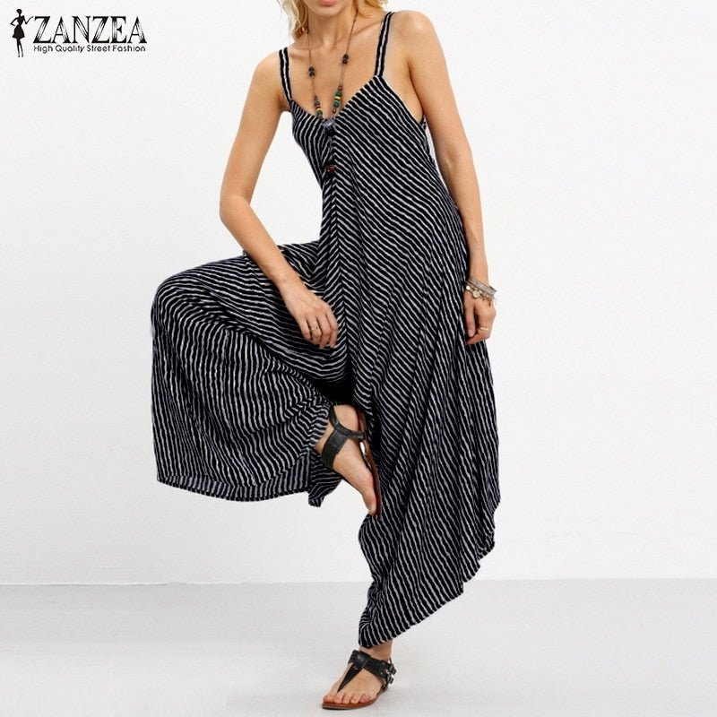 2018 ZANZEA Rompers Womens Jumpsuit Sexy Strapless Casual Loose Striped Playsuits Backless Summer Overalls Oversized S-5XL