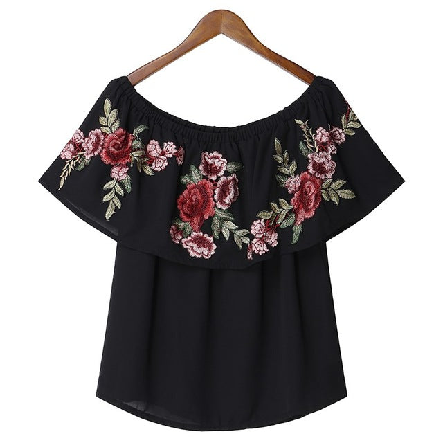 Floral Embroidery off Shoulder Ruffles Tees Summer Casual Holiday Tops
