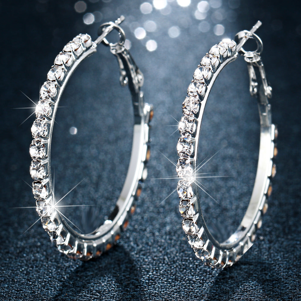 17KM Fashion Oversize Circle Hoop Earrings for Women Girl New Geometric Crystal Round Earring Brincos Party Jewelry Gift