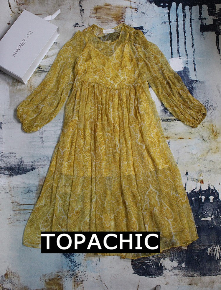 Yellow Lumino Paisley Sheath Long Dress