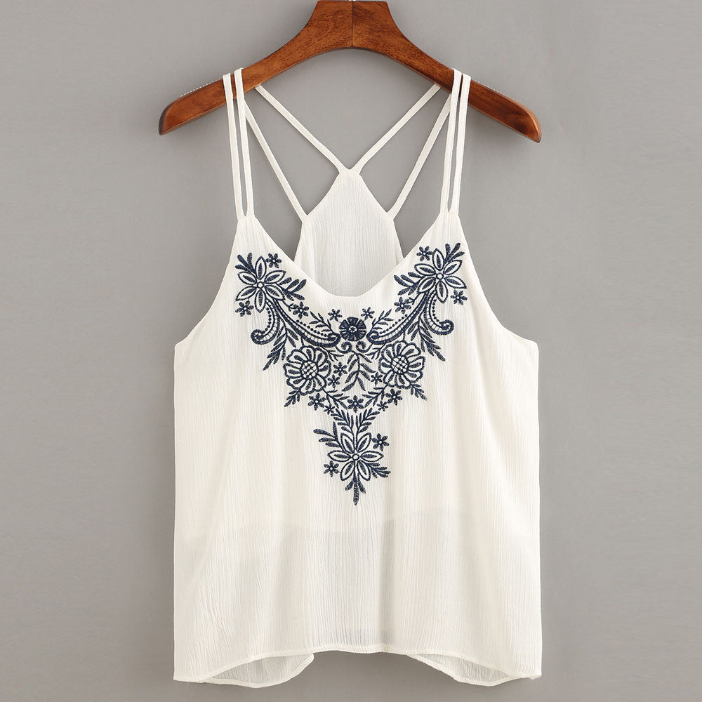 Women Tank Tops Flower Embroidered Strappy Cami Top