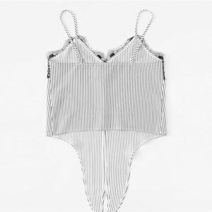 Lace Knot Front Striped Cami Top