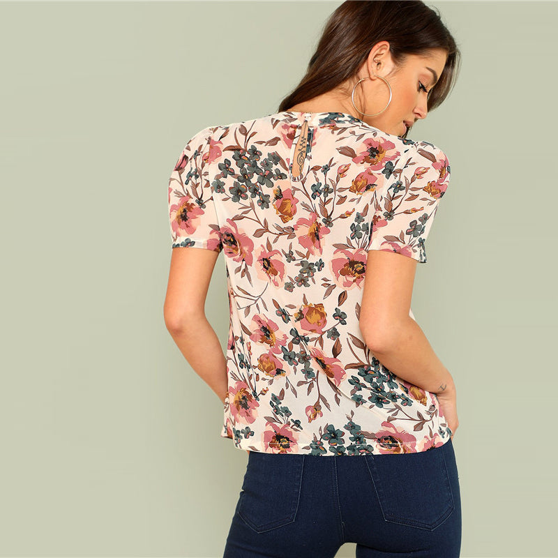 Multicolor Floral Print Gathered Tops