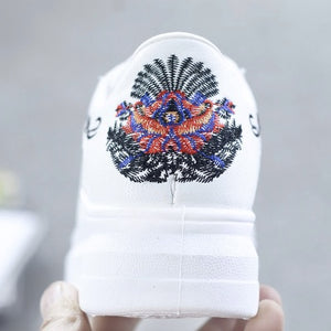 Embroidered Breathable Hollow Lace-Up Sneakers