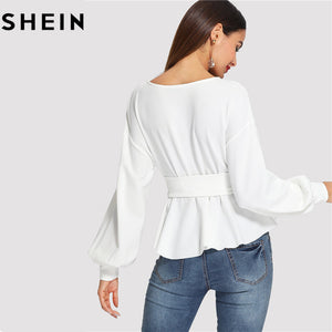 Beige Long Lantern Sleeve Corset Belt Pleated Hem Solid Top