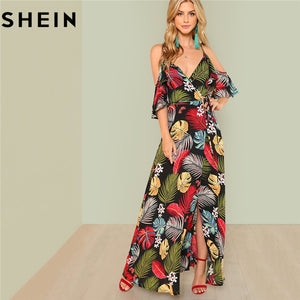 Summer Floral Print Deep V Neck Open Shoulder Maxi Dress Women Vacation High Waist Surplice Wrap Dresses