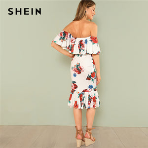 Multicolor Party Flounce Layered Neck Floral Print Off the Shoulder Ruffle Short Sleeve Dress Summer Women Going Out Dress