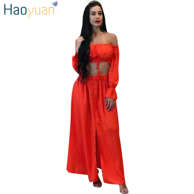Two Piece Chiffon Long Maxi Dress Women Off Shoulder Split Summer Dresses Casual Loose Beach Dress