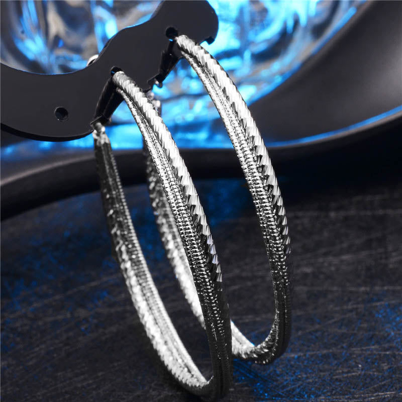 QCOOLJLY Super Sexy Oversized Gold-Color  Big Circle Hoop Earrings Bijoux Geometric Earrings For Women