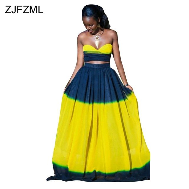 Yellow Blue Plus Size Two Piece Dresses Women Strapless Off Shoulder Party Dress