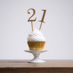 Elegant cupcake number cake topper decorations - Funky Laser